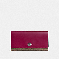 COACH F88024 Trifold Wallet In Signature Canvas SV/KHAKI DARK FUCHSIA