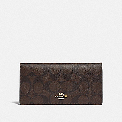COACH F88026 Bifold Wallet In Signature Canvas IM/BROWN/BLACK