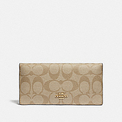 COACH F88026 Bifold Wallet In Signature Canvas IM/LIGHT KHAKI/CHALK