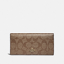 COACH F88026 Bifold Wallet In Signature Canvas IM/KHAKI/SADDLE 2