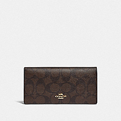COACH F88026 Bifold Wallet In Signature Canvas IM/BROWN METALLIC BERRY