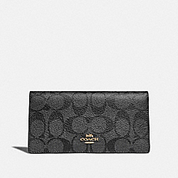 COACH F88026 Bifold Wallet In Signature Canvas SV/BLACK SMOKE/BLACK