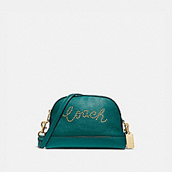 DOME CROSSBODY WITH STUDDED COACH SCRIPT - F88030 - IM/VIRIDIAN