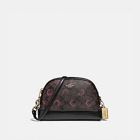 COACH F88032 DOME CROSSBODY IN SIGNATURE CANVAS WITH MOON PRINT IM/BROWN-PURPLE-MULTI