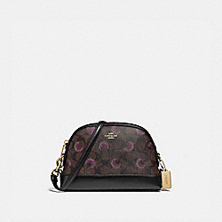 DOME CROSSBODY IN SIGNATURE CANVAS WITH MOON PRINT - F88032 - IM/BROWN PURPLE MULTI