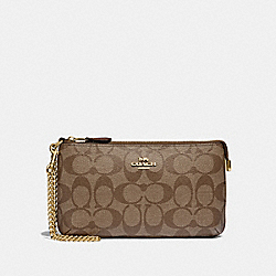 COACH F88035 Large Wristlet In Signature Canvas IM/KHAKI/SADDLE 2