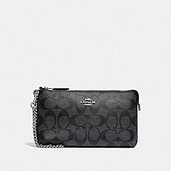 COACH F88035 Large Wristlet In Signature Canvas SV/BLACK SMOKE/BLACK