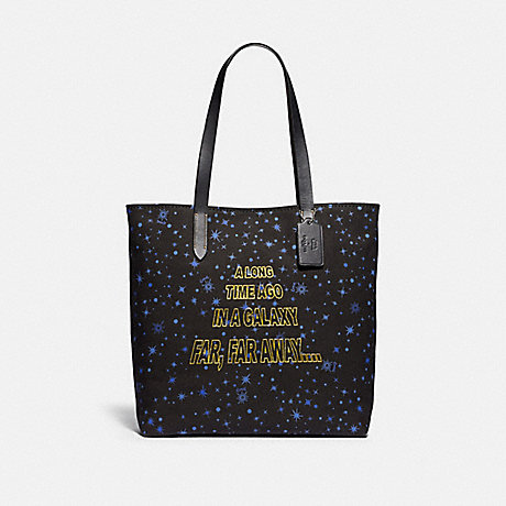 COACH F88038 STAR WARS X COACH TOTE WITH STARRY PRINT AND SCROLL PRINT SV/BLACK-MULTI
