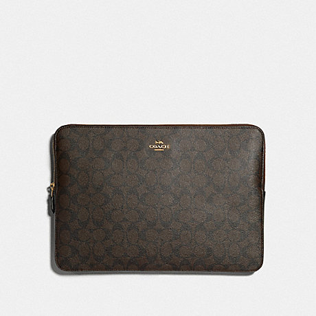 COACH LAPTOP SLEEVE IN SIGNATURE CANVAS - IM/BROWN/BLACK - F88040
