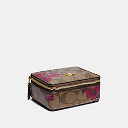 JEWELRY BOX IN SIGNATURE CANVAS WITH VICTORIAN FLORAL PRINT - F88056 - IM/KHAKI BERRY MULTI