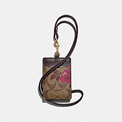 ID LANYARD IN SIGNATURE CANVAS WITH VICTORIAN FLORAL PRINT - F88058 - IM/KHAKI BERRY MULTI