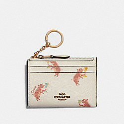 COACH F88062 Mini Skinny Id Case With Party Pig Print IM/CHALK MULTI