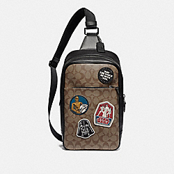 STAR WARS X COACH WESTWAY PACK IN SIGNATURE CANVAS WITH PATCHES - F88066 - QB/TAN MULTI