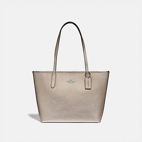 COACH F88067 ZIP TOP TOTE SV/PLATINUM