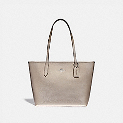 ZIP TOP TOTE - F88067 - SV/PLATINUM