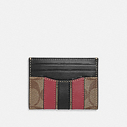 SLIM CARD CASE IN SIGNATURE CANVAS WITH VARSITY STRIPE - F88069 - QB/TAN SOFT RED