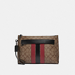 CARRYALL POUCH IN SIGNATURE CANVAS WITH VARSITY STRIPE - F88070 - QB/TAN SOFT RED