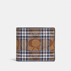 3-IN-1 WALLET IN SIGNATURE CANVAS WITH SHIRTING PLAID PRINT - F88071 - QB/KHAKI BLUE