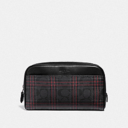 COACH F88073QBM4K Overnight Travel Kit In Signature Canvas With Shirting Plaid Print QB/BLACK RED MULTI