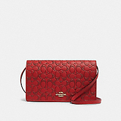 HAYDEN FOLDOVER CROSSBODY CLUTCH IN SIGNATURE LEATHER - F88078 - IM/TRUE RED