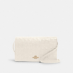 HAYDEN FOLDOVER CROSSBODY CLUTCH IN SIGNATURE LEATHER - F88079 - IM/CHALK