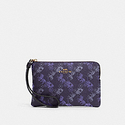 COACH F88083 - CORNER ZIP WRISTLET WITH HORSE AND CARRIAGE PRINT IM/DARK PURPLE/LAVENDAR MULTI