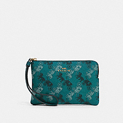 COACH F88083 - CORNER ZIP WRISTLET WITH HORSE AND CARRIAGE PRINT QB/VIRIDIAN SAGE MULTI