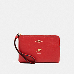 COACH F88084 - LUNAR NEW YEAR CORNER ZIP WRISTLET WITH RAT IM/TRUE RED