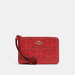 COACH F88085 Corner Zip Wristlet In Signature Leather IM/TRUE RED