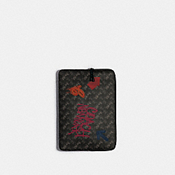 COACH F88088 - LAPTOP SLEEVE WITH HORSE AND CARRIAGE PRINT SV/BLACK GREY MULTI