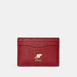 COACH F88094 Lunar New Year Card Case With Rat IM/TRUE RED