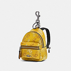 COACH F88095 - BACKPACK COIN CASE WITH HORSE AND CARRIAGE PRINT SV/YELLOW MULTI