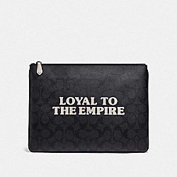 COACH F88112 - STAR WARS X COACH LARGE POUCH IN SIGNATURE CANVAS WITH LOYAL TO THE EMPIRE QB/BLACK/BLACK
