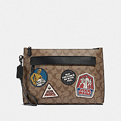 COACH F88114 - STAR WARS X COACH CARRYALL POUCH IN SIGNATURE CANVAS WITH PATCHES QB/TAN