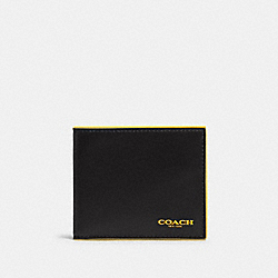 COACH F88135 - ID BILLFOLD WALLET IN COLORBLOCK BLACK BANANA MULTI