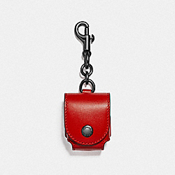 COACH F88199SVPJ6 - EARBUD CASE BAG CHARM SV/SPORT RED