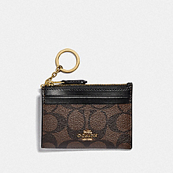 COACH F88208 Mini Skinny Id Case In Signature Canvas IM/BROWN/BLACK