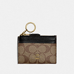 COACH F88208 Mini Skinny Id Case In Signature Canvas IM/KHAKI/BLACK