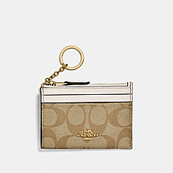 MINI SKINNY ID CASE IN SIGNATURE CANVAS - F88208 - IM/LIGHT KHAKI/CHALK