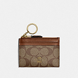 COACH F88208 Mini Skinny Id Case In Signature Canvas IM/KHAKI/SADDLE 2
