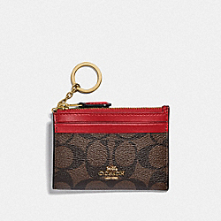 COACH F88208 Mini Skinny Id Case In Signature Canvas IM/BROWN TRUE RED