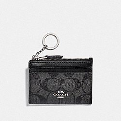 COACH F88208 - MINI SKINNY ID CASE IN SIGNATURE CANVAS SV/BLACK SMOKE/BLACK