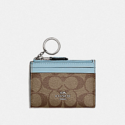 COACH F88208 - MINI SKINNY ID CASE IN SIGNATURE CANVAS SV/KHAKI PALE BLUE
