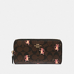 COACH F88259 - ACCORDION ZIP WALLET IN SIGNATURE CANVAS WITH PARTY MOUSE PRINT IM/BROWN PINK MULTI