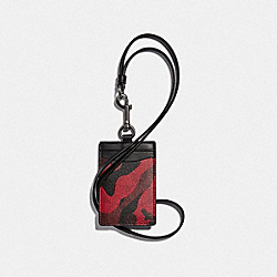 COACH F88268 - ID LANYARD IN SIGNATURE CANVAS WITH CAMO PRINT QB/OXBLOOD MULTI
