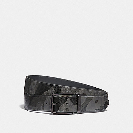 COACH F88269 HARNESS BUCKLE CUT-TO-SIZE REVERSIBLE BELT WITH CAMO PRINT, 38MM QB/GREY MULTI