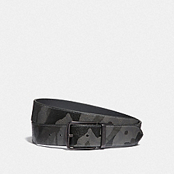 COACH F88269QBGRM - HARNESS BUCKLE CUT-TO-SIZE REVERSIBLE BELT WITH CAMO PRINT, 38MM QB/GREY MULTI