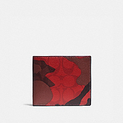 COACH F88270 - 3-IN-1 WALLET IN SIGNATURE CANVAS WITH CAMO PRINT QB/OXBLOOD MULTI