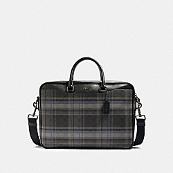 BECKETT SLIM BRIEF IN SIGNATURE CANVAS WITH PLAID PRINT - F88271 - QB/BLACK MULTI