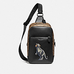 STAR WARS X COACH WESTWAY PACK IN SIGNATURE CANVAS WITH TAUNTAUN - F88274 - QB/BLACK MULTI